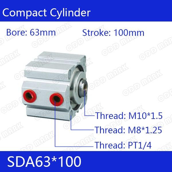 SDA63*100 Бесплатная доставка 63 мм Диаметр 100 мм ход компактный воздуха SDA63X100 цилиндры двойного действия воздуха пневматический цилиндр