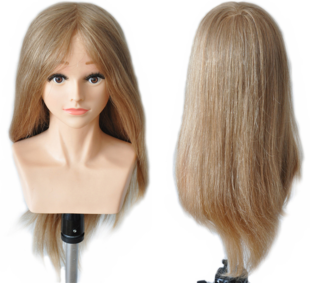 """22"""" Brown Female 100% Straight Human Hair Training Practice Mannequin Head With Shoulder Remy Hair For Barber Hairdressers"""