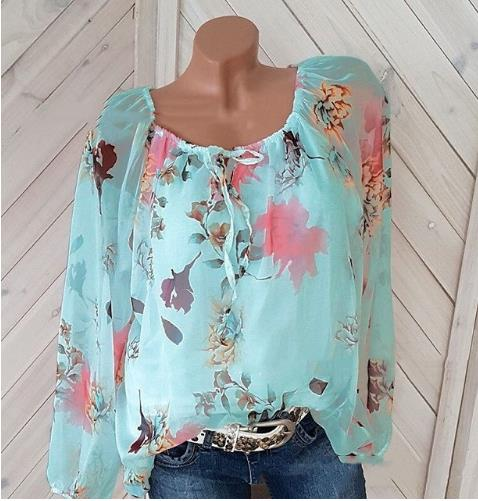 2019 Autumn Fashion Chiffon V-neck Women Blouse Long Sleeve Shirts Floral Plus Size Top Casual Sexy Office Lady Blusas