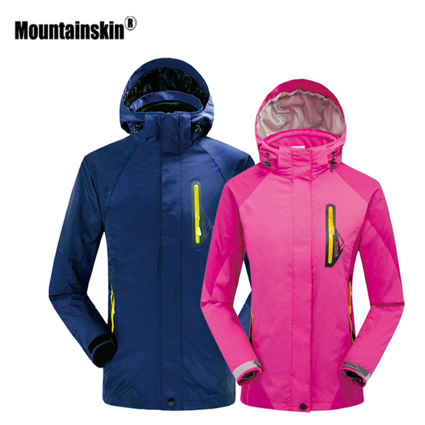 Mountainskin Men's Women's Winter Outdoor Camping Hiking Windbreaker Water Repellent Thermal Fleece Jacket 2 Pieces Brand VA323