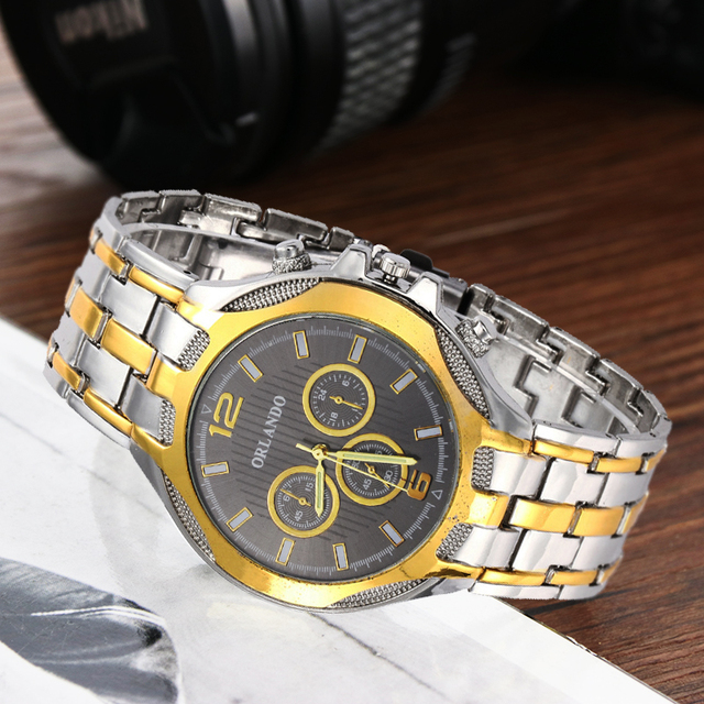 ORLANDO Top Quality Quartz Silver Gold Plated  Mens Stainless Steel  Wristwatch 5