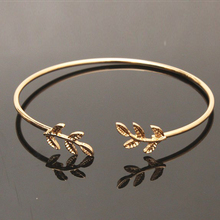 CHENFAN bangles bijouterie Leaf Bracelet stainless steel jewelry woman metal bracelets womens cuff bracelet Opening