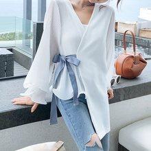 New Korean Fashion Office Blouse Women White Shirt Sexy V Neck Long Sleeve Top Lace Up Asymmetric Pleated Elegant Ladies Blouses asymmetric long sleeve top