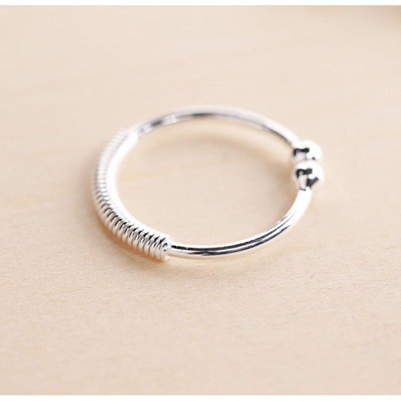 S925 все серебро обещал Женская мода двойные шарики Открытое кольцо