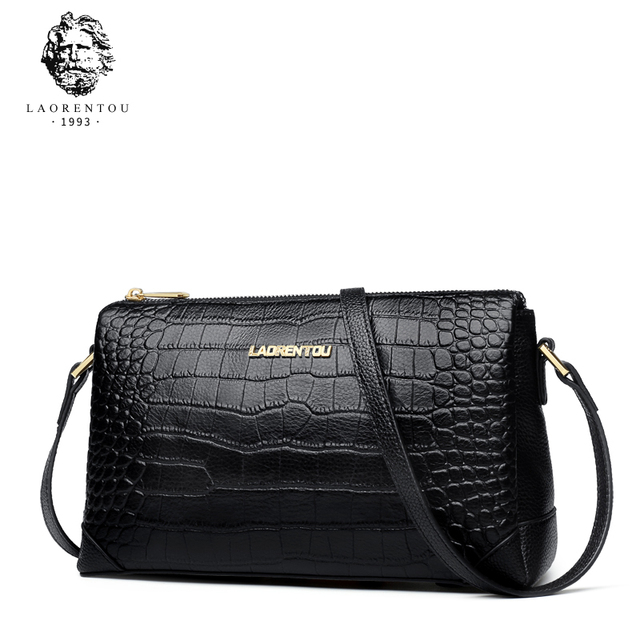 Laorentou Brand Women Fashion Genuine Leather Shoulder Bags Lady Alligator Zipper Cowhide Crossbody Bags