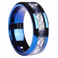 Queenwish 8 мм Синий Вольфрам кольцо серебро Цвет кельтский Дракон Голубой углеродного волокна инкрустация вечность Свадебные Кольца для пары ю...