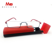 Meeshow TR90 Reading Glasses +1.0 to +3.5, Portable Emergency Reader with Case, High quality stainless steel reading glasses