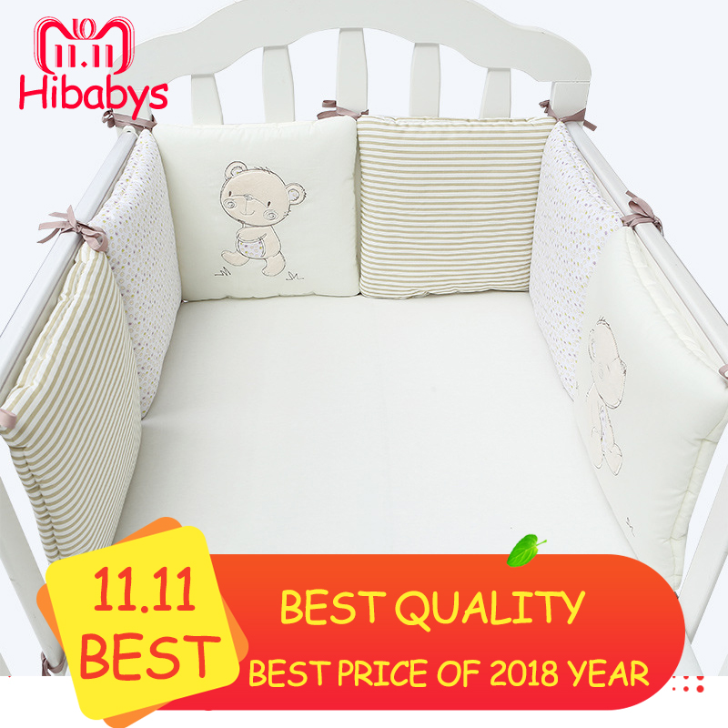 Cotton Baby Bumpers in The Crib Cot Bumper Baby Bed Protector Crib Bumper Newborns Toddler Bed Bedding Set 5pcs set baby bed bumper infant bed cot bumper bed protector breathable baby crib protector cushion toddler nursery bedding