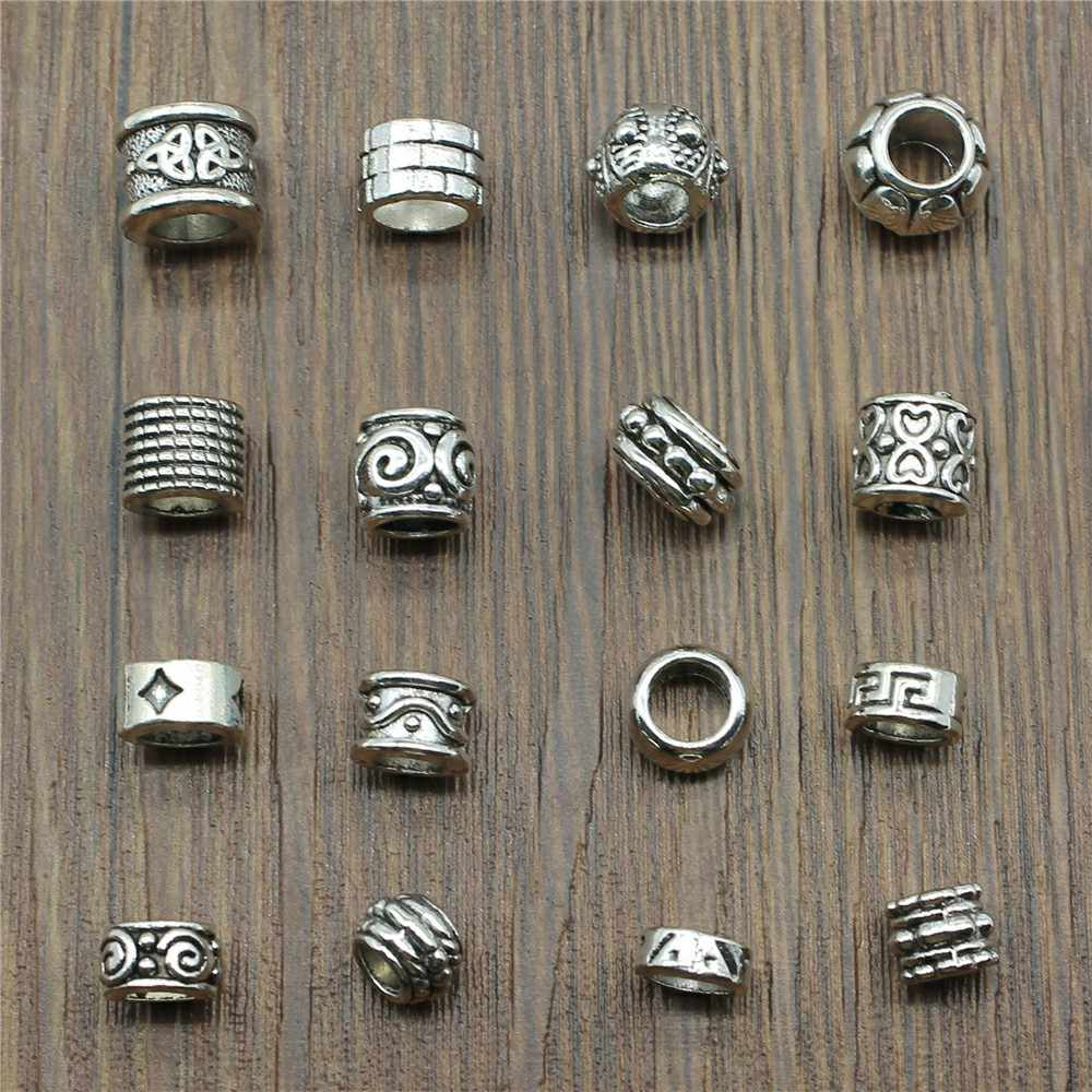 3 Piece Mix Spacer Beads Charm Pendants For Bracelets Jewelry Making Charm Antique Silver Color Big Hole Spacer Beads Charm