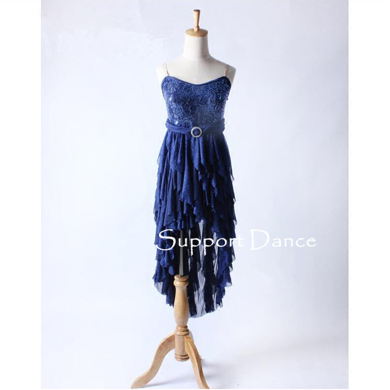 Girls Slim Sequin Camisole Latin Dress With Irregular Skirt Women Navy Blue Contemporary Performance Costume Support Dance C253