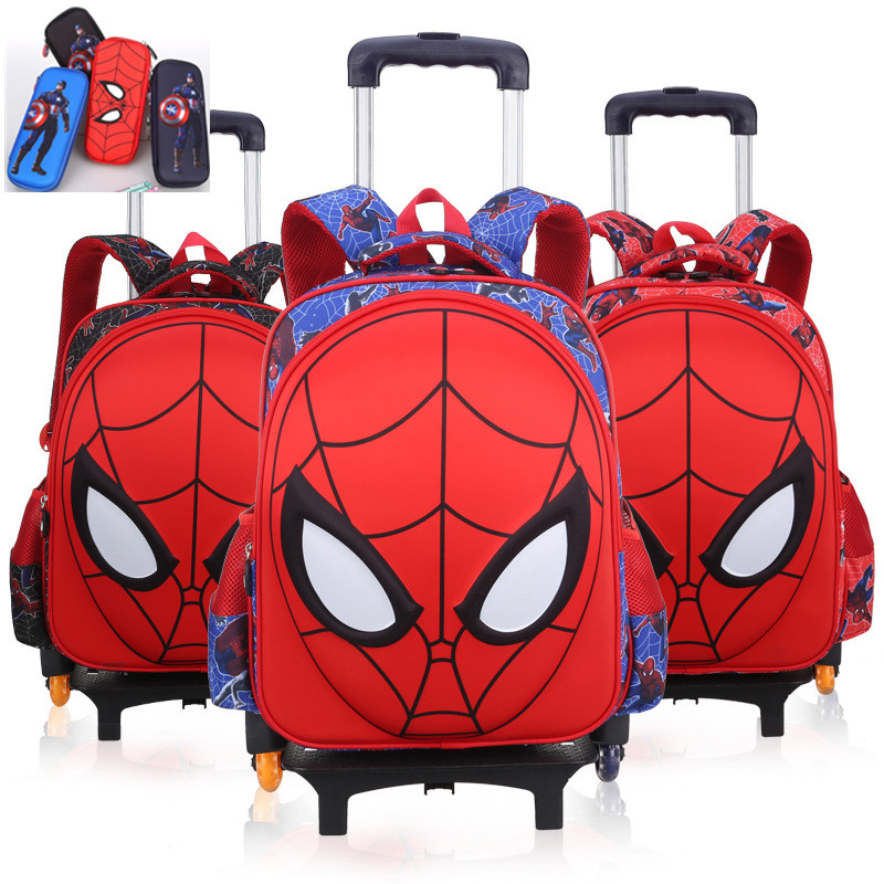 3D Spiderman Primary Kids School Trolley Backpack Spider Man Cartoon Student Children Boys Rolling Backpacks Daypack drop shipping 1pcs retail hot sales 3d cartoon spiderman kids student boys birthday gifts watch quartz silicone alloy wristwatch