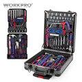 WORKPRO 111PC Набор инструментов на колесиках, алюминиевый ящик, набор инструментов для дома