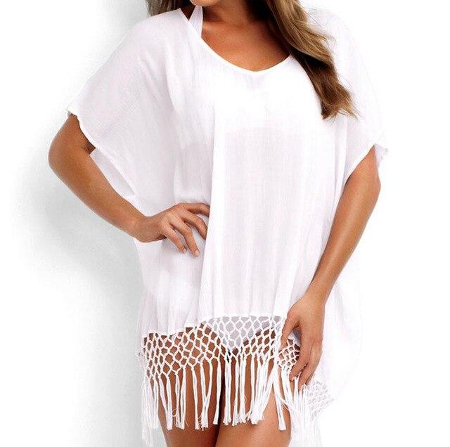 Summer Sexy Beach Dress With Tassels Pareo Beachwear Tunic White Chiffon Sarong Swimsuit Dress Swimwear beach dress tunic