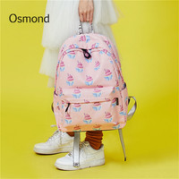 Osmond Women Canvas Backpacks For Teenagers Girls Female School Bag Pink Laptop Rucksack Book Bags Large Capacity Travel Mochila