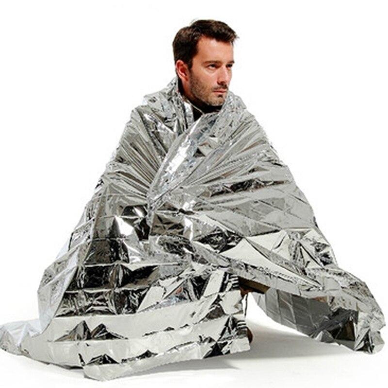 цена на 130x210cm Portable Waterproof Emergency Blanket Windproof Survival Rescue Thermal Mylar Blankets Outdoor Life-saving Equipmet