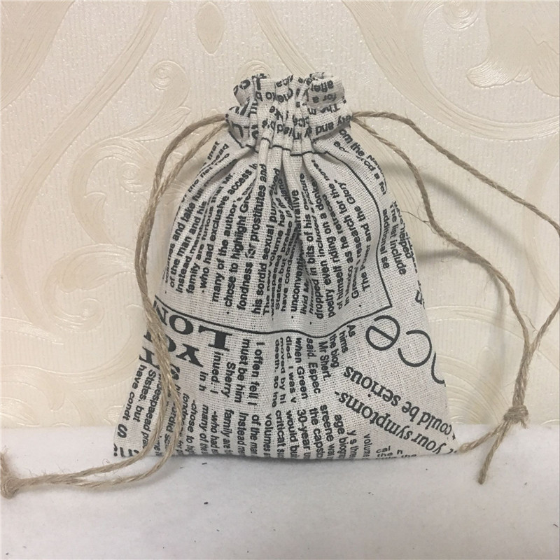 YILE Handmade Cotton Linen Drawstring Multi-purpose Gift Bag English Newspaper 8123H