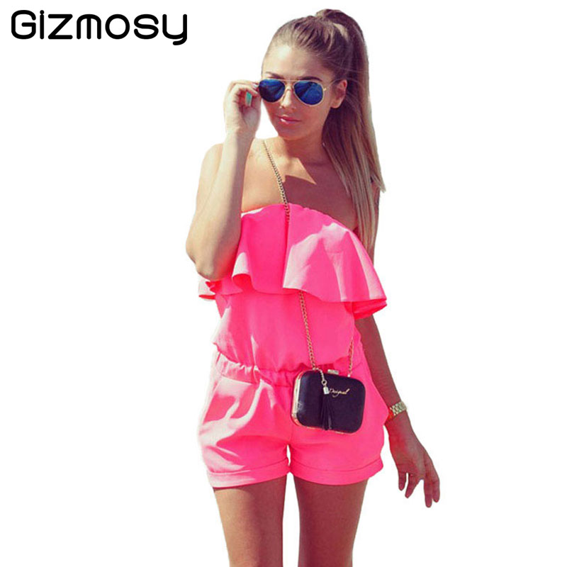 2017 Hot Sale Ladies Summer Sexy Jumpsuit Solid Shorts Overalls Plus Size Playsuits Off Shoulder Ruffles Bodysuit Sy1158 To Help Digest Greasy Food Women's Clothing
