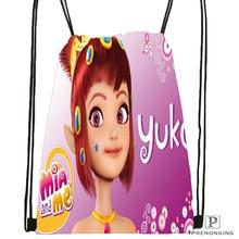 Custom Mia and Magic Me Drawstring Backpack Bag Cute Daypack Kids Satchel Black Back 31x40cm 180531