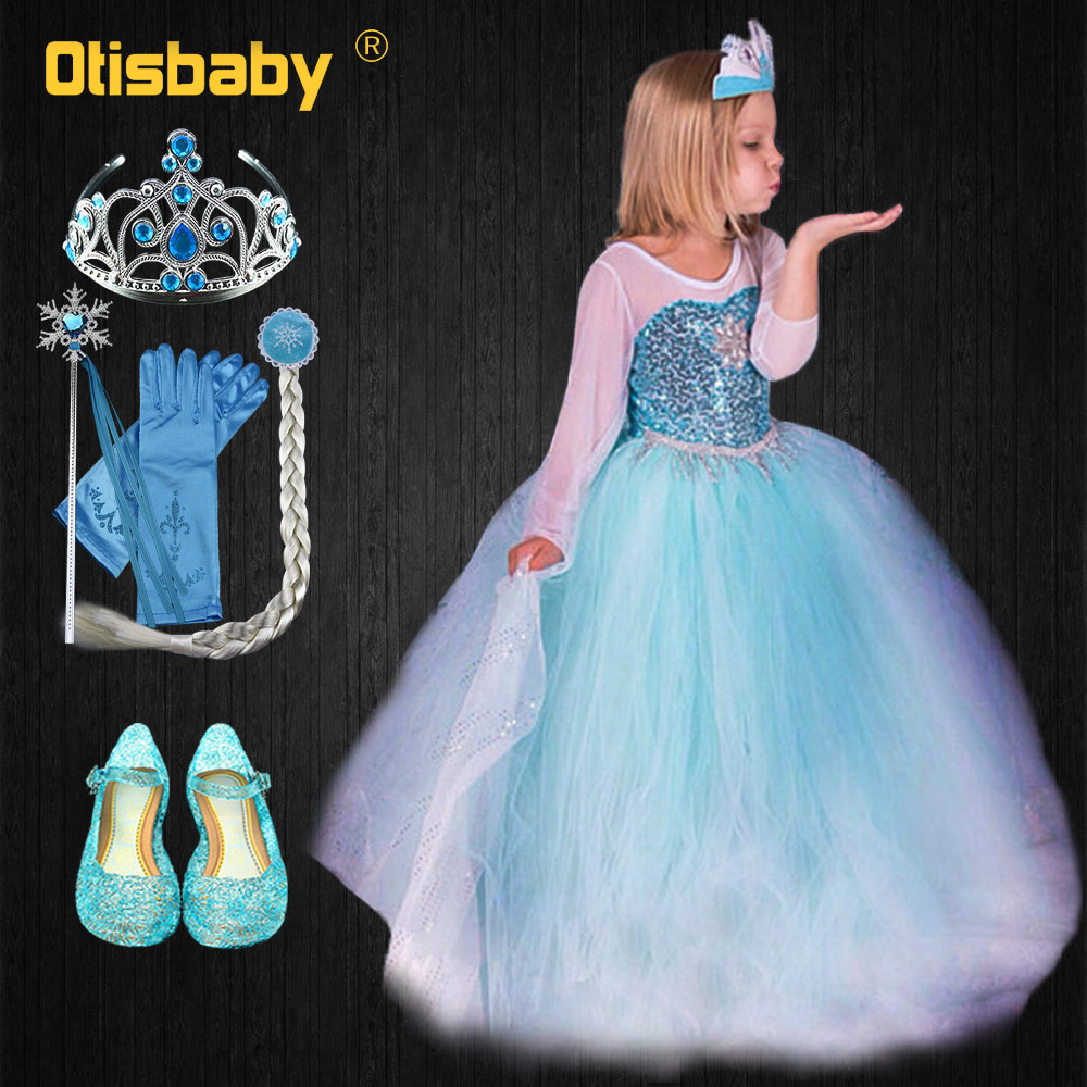 Fancy Elsa Dress for Children Infant Girl Birthday Gift Snow Queen Sequined Gown Long Carnival Elsa Costume Fantasia Infantil girl