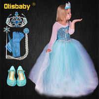 Fantasia elsa vestido para crianças infantil menina presente de aniversário neve rainha lantejoulas vestido longo carnaval elsa fantasia infantil