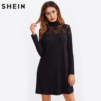 SHEIN Sheer Lace Yoke Straight Tee Dress Black High Neck Long Sleeve Sexy Women Dresses Autumn