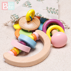 Wooden Rattles Baby Toys Grasp Play Game