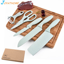 Joyathome 5pcs/Set Wheat Straw Handle Stainless Steel Kitchen Knife Set Gift Cutter Couteau a Filet de Poisson