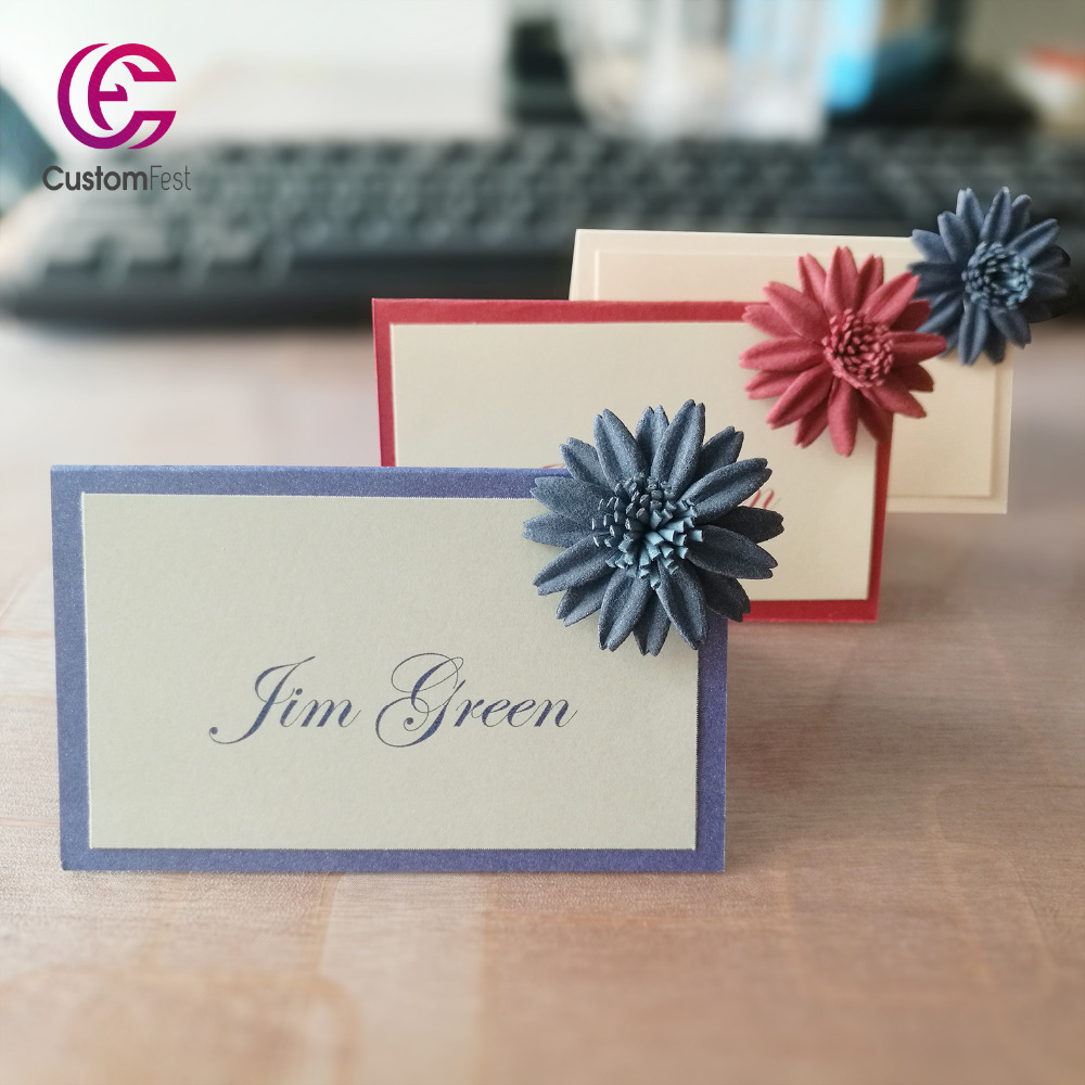 Us 17 99 30pcs Lot Diy Place Card Name Card For Party And Wedding High Class Flower Decorated Place Card With Many Color Options In Cards