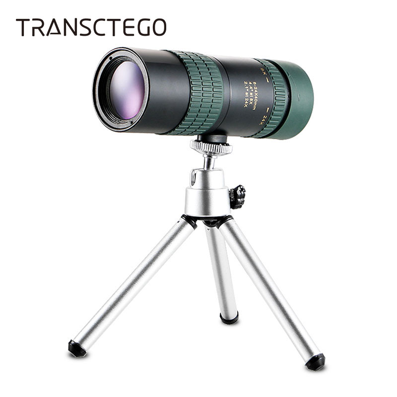 Monocular Telescope 8-24X30 Night Vision Scopes Waterproof Mini Monocular with Phone Adapter Tripod Bird Watching Hunting Hiking