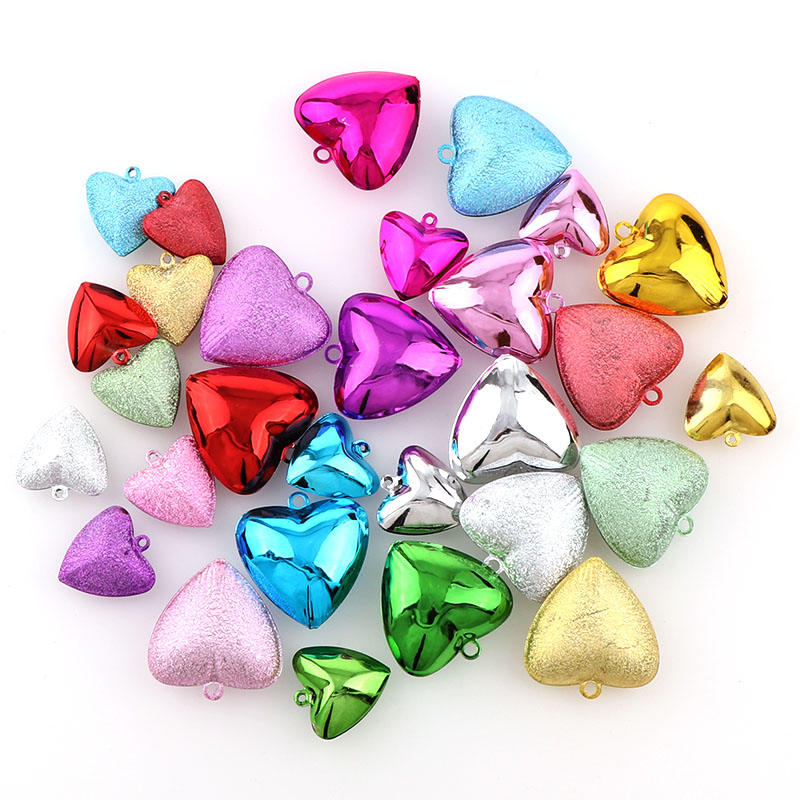 10PCS Colorful Metal Heart  Jingle Bells Loose Beads Festival Party Decoration/Christmas Tree Decorations/DIY Crafts Accessories