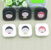 Cute Cartoon Chibi Maruko Travel Glasses Plastic Contact Lenses Box Travel Contact lens Case Eyes Care Kit Holder Container Gift(China (Mainland))