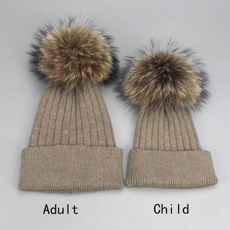 FURTALK Kids Winter Pom Beanie Hat Unisex Parent-Child Knit Hats for Women Girls Boys Beige