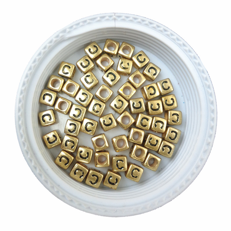 Free Shipping Cube Acrylic Letter Beads 500pcs 2600pcs Single Initial C Printing Gold Square Alphabet Jewelry Spacer Beads Beads Beads & Jewelry Making