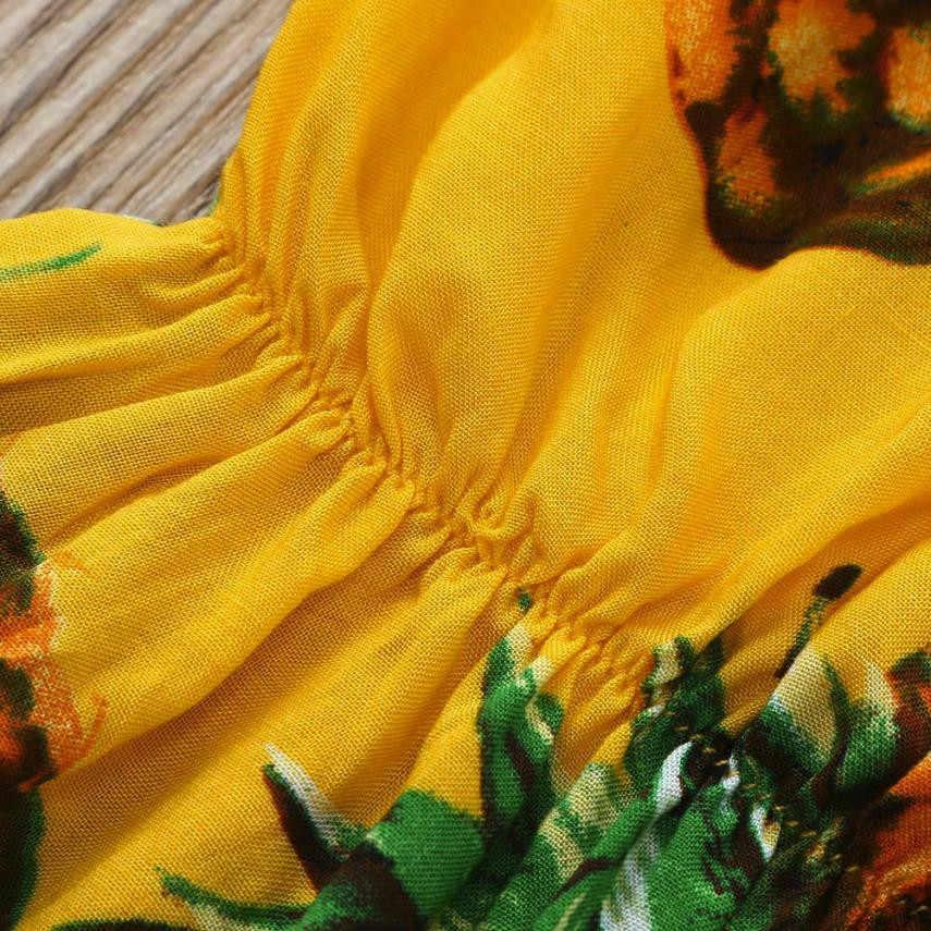 Забавная детская одежда, комбинезон летнее принтованное платье с открытыми плечами, комбинезон, спортивный костюм тетей цельное платье для маленьких девочек; комбинезон