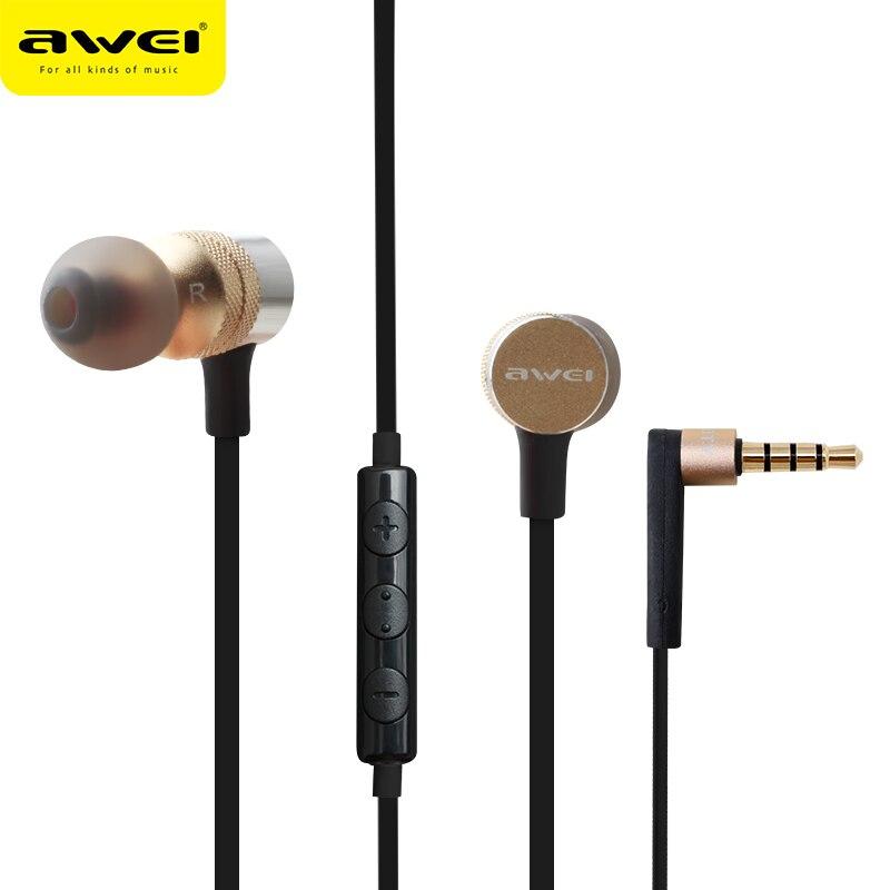 Awei ES-20TY in-ear auricular 3,5mm Jack Auriculares Super Bass auricular con micrófono Metal fone de ouvido Auriculares Kulakl k