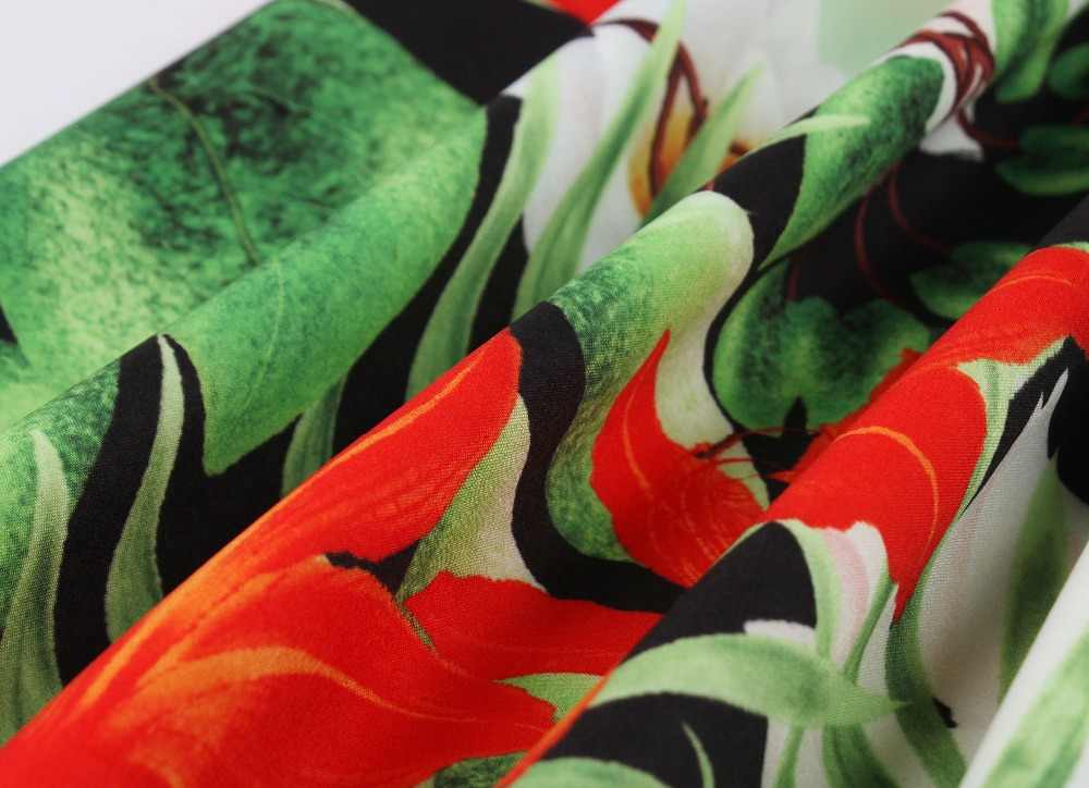 f6e0defe88ee9 Women Plunge V Neck V Back Scalloped Sleeveless Sundress Spring Summer  Flamingo Tropical Leaf Print Casual Vintage Dress Green