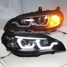 2007-2011 год для BMW X5 E70 светодио дный головного света лампы Черный Корпус JY