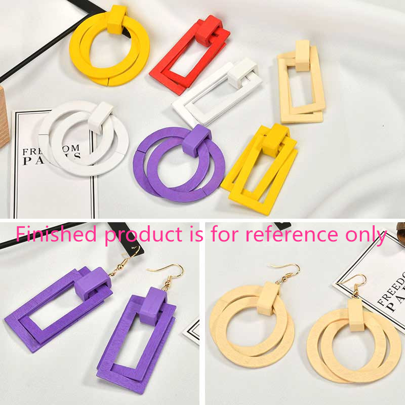 Charms Diy Round/rectangle-Shape Jewelry Pendants-Accessory Earring/necklace Handmade