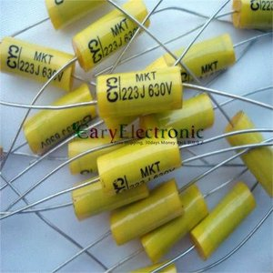 Image 3 - Commercio allingrosso 200 pz lungo conduce giallo Assiale Film di Poliestere elettronica 0.022 uF 630 V fr tubo amplificatore audio gratis libero