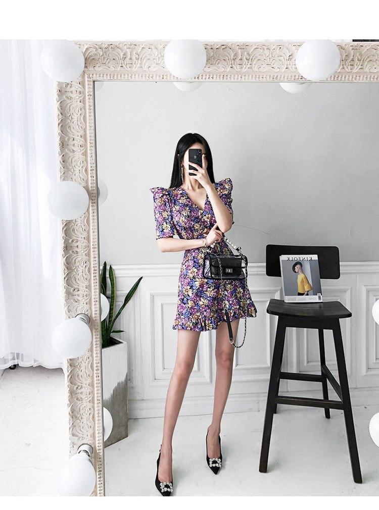 HTB1Mp0cXq1s3KVjSZFtq6yLOpXaa - Summer V-Neck Short Sleeves Floral Print Mini Dress