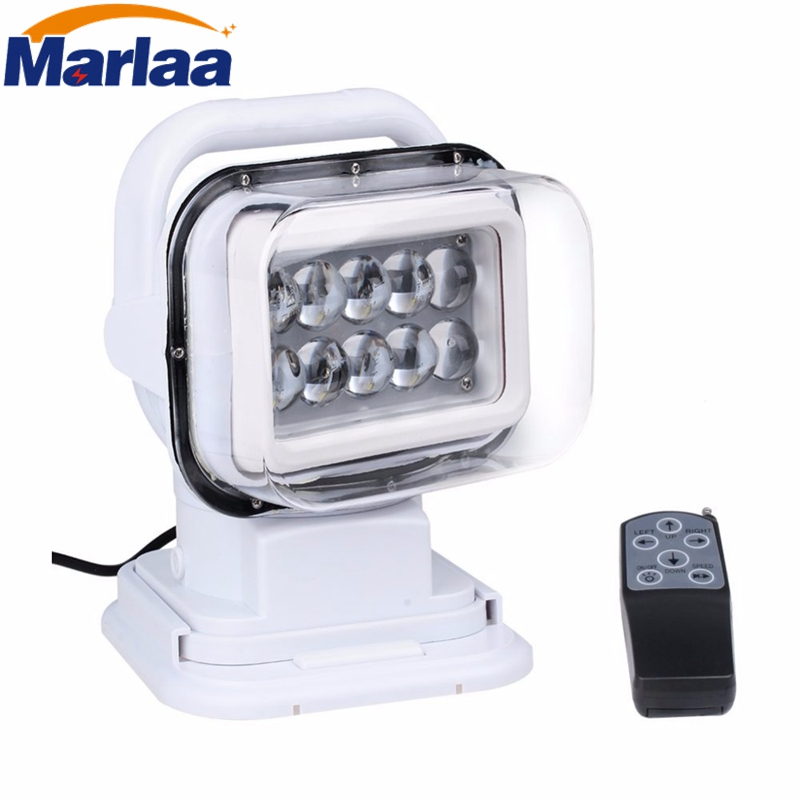 Marlaa 12v 24v 50w LED Rotating Remote Control Work Light for Trucks Car Boat SUV Home Security Protection Emergency Lighting