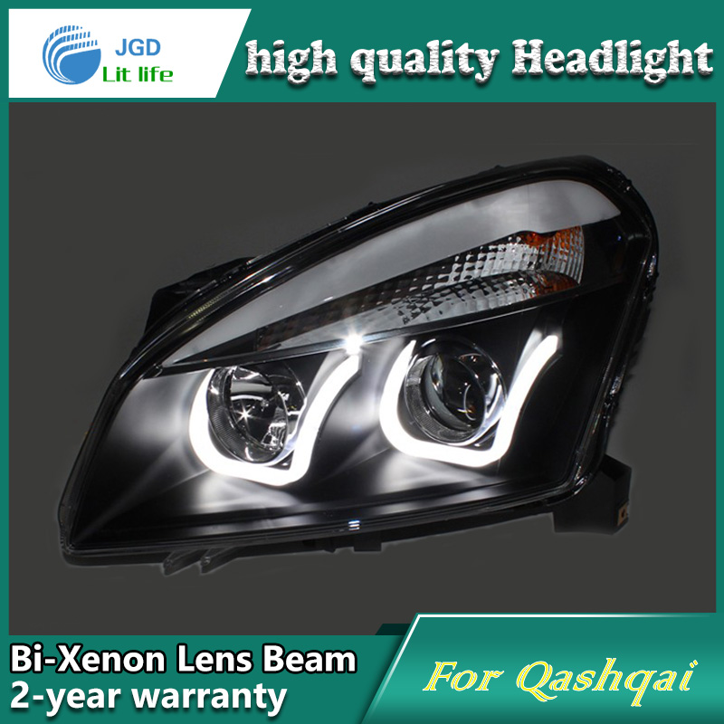 Car Styling Head Lamp case for Nissan Qashqai 2008-12 Headlights LED Headlight DRL Lens Double Beam Bi-Xenon HID car Accessories akd car styling for nissan teana led headlights 2008 2012 altima led headlight led drl bi xenon lens high low beam parking