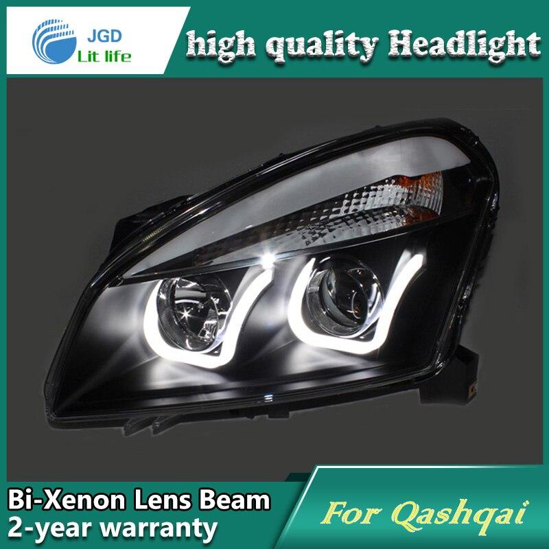 Car Styling Tête Lampe cas pour Nissan Qashqai 2008-12 Phares LED Phare DRL Lentille Double Faisceau Bi-Xenon HID voiture Accessoires