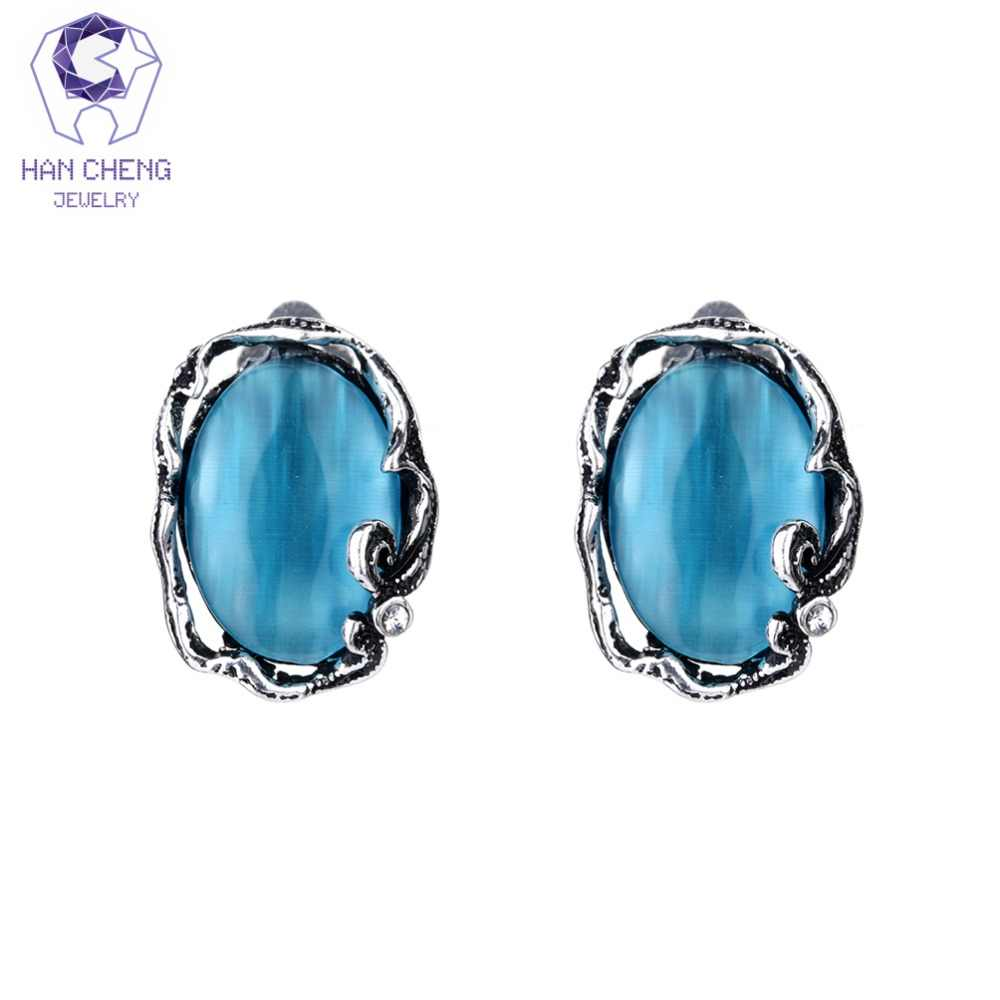 HanCheng New Oval Gem Stone Abalone Fire Opal Clip Earrings For Women Jewelry Metal Vintage Antique Silver Plated bijoux brincos