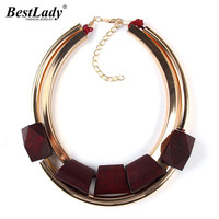 2016 Unique New Fashion Wood Metal Gold Plated Color Circle Accessories Necklaces Pendants Statement Collar Necklace