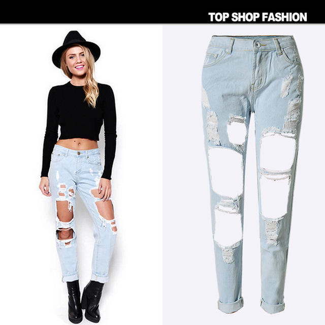 big holes cutout jeans white straight loose cropped pants fashion