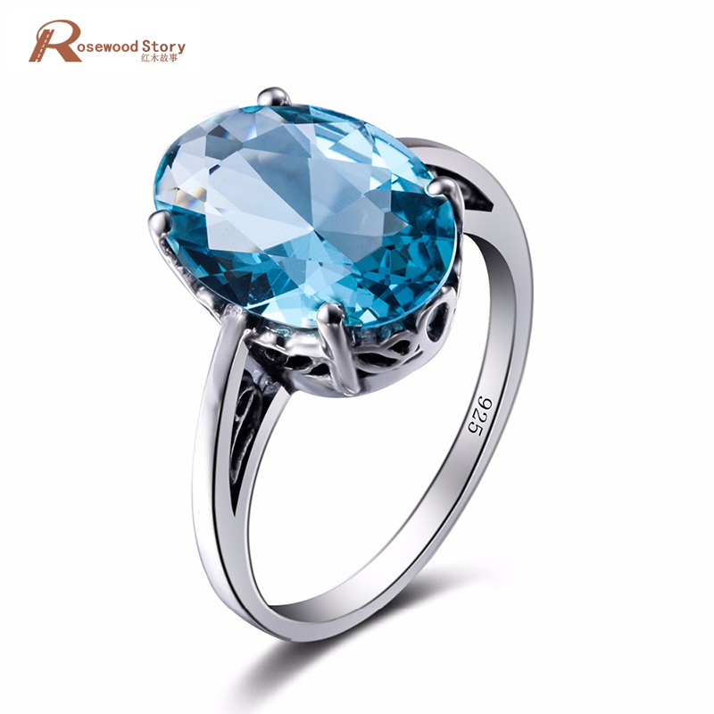 Luxury Charm Handmade 925 Sterling Silver Austrian Crystal Women Female Ring Finger Famous Vintage Blue Stone Ring Fine Jewelry