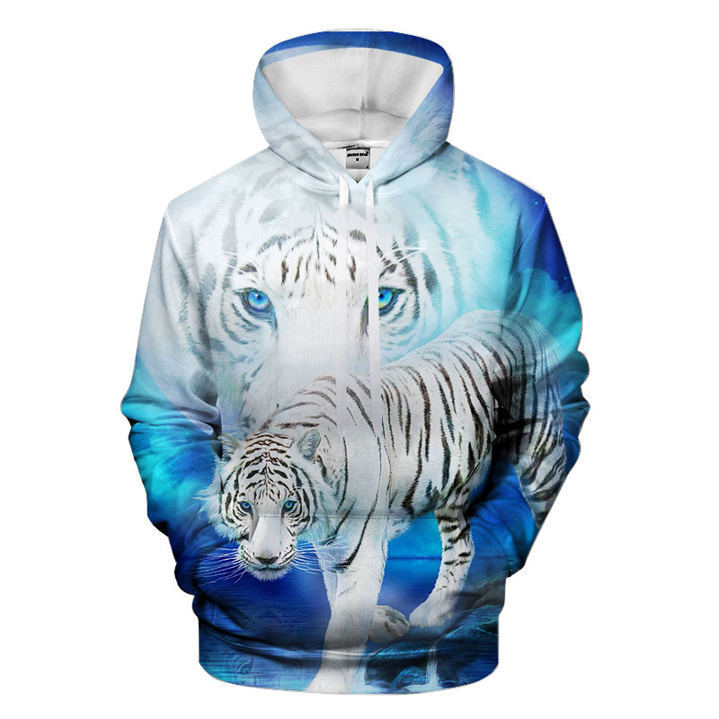 Blue Tiger Hoodies Hooded Unisex Hat 3D Sweatshirts Print Colorful