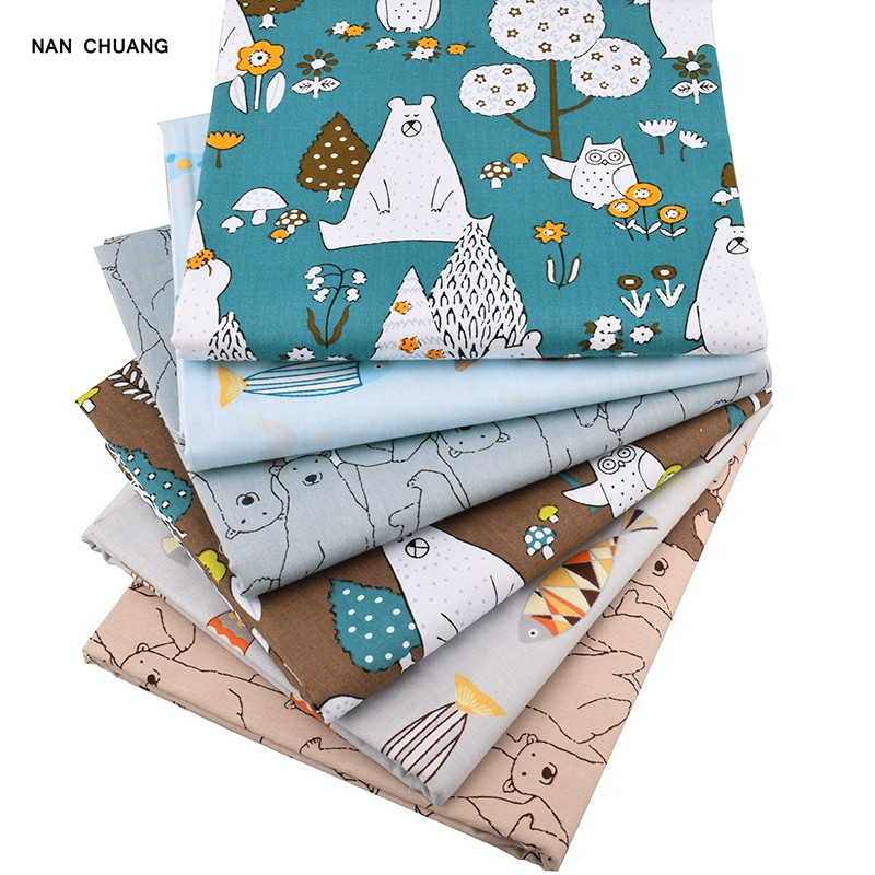 Nanchuang 6 Stk / Lot Bear & Fishes Twill Patchwork bomullstyg för DIY Syning Quiltning Baby & Child Fat Quarters Material 40cmx50cm