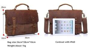 Image 2 - AUGUR nouvelle mode hommes Vintage sac à main en cuir véritable sac à bandoulière messager sacoche pour ordinateur portable sacoche sac Fit 14 pouces ordinateur portable